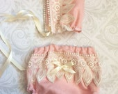 Dainty Baby Collection - Newborn Lace Bonnet and Diaper Cover