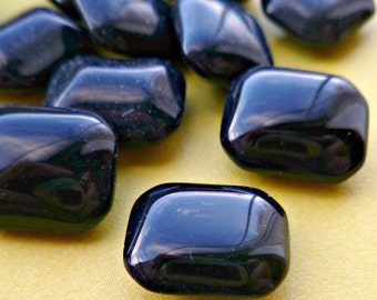12 Vintage Czech 12x10 Jet Black Glass Jewels (53-5F-12)