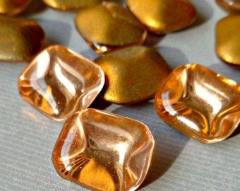12 Vintage Czech 12x10mm Rosaline Peach Faceted Glass Rhinestone Jewels (32-18F-12)