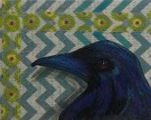 Chevron Washi Tape raven crow Orinial ACEO
