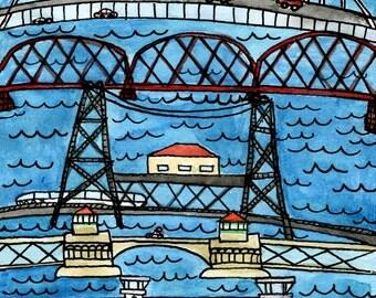 Portland Bridges 6x10 inch digital print