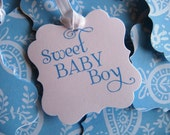 25 Blue and White Paisley Pattern Sweet Baby Boy Baby Shower Favor Tags with Satiny White Ribbon