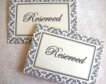 Two 5x7 Tent Folded Reserved Wedding Paper Signs in Black and Cream Damask -READY TO SHIP