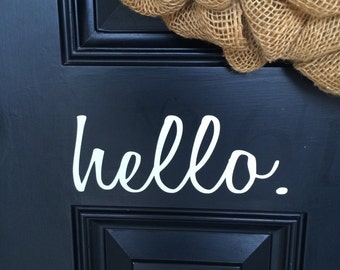 hello. door decal