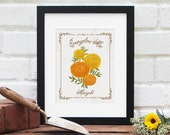 OCTOBER Birth Month Flower, Personalized Birthday Gift : Birth Present, Name and Date Floral Illustration Nursery Art - 8x10 Art Print