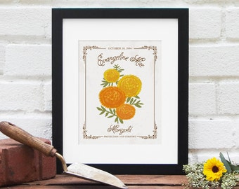 OCTOBER Birth Month Flower, Personalized Birthday Gift : Birth Present, Name and Date Floral Illustration Nursery Art - Art Print