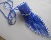 Beadwoven Mini Amulet Bag, Necklace, Wish Bag in Blue