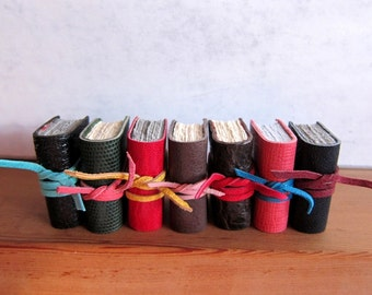 Miniature leather journal / notebook / diary / sketchbook / hand made / mini book