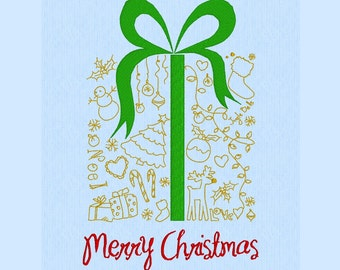 Christmas gift doodles machine embroidery design file for 5x7 hoop