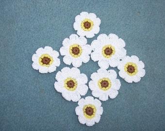 8 handmade cotton thread crochet applique flowers --  811