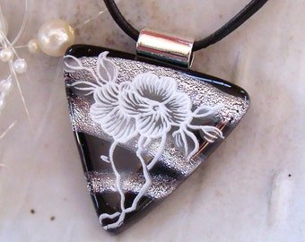 Dichroic Glass Pendant, Glass Jewelry, Floral, Black, White, Silver, Necklace Included, A4