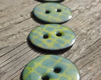 Handmade Enamel Copper Buttons, Enameled Copper Buttons, Enamel on Copper Button, Hand Knit Buttons, Chartreuse, Teal, Green, Set of 5, 22mm