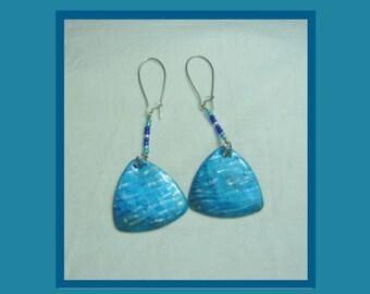 Reversible, Hand-Made Earrings in Blue