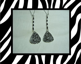 Hand-made and Hand-painted Black and White Zebra Print Earrings using Real Guitar Picks