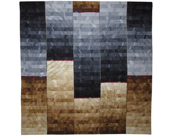 Large Abstract Art Quilt, Fabric Wall Hanging, Fiber Art, Brown and Black Blended Gradations, Hand Stitched