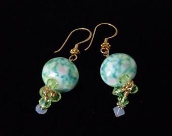 Beaded, Teal, Green, Ivory, Glass Beads, Gold, Crystals, Lampwork, Beaded Earrings, Glass Earrings, Swarovski, Spring, Dangle