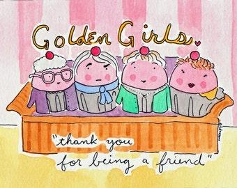 PRINT of CakeSpy artwork 8x10 Golden Girls Cupcakes