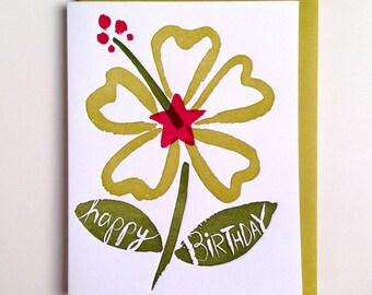 Hibiscus Birthday Card