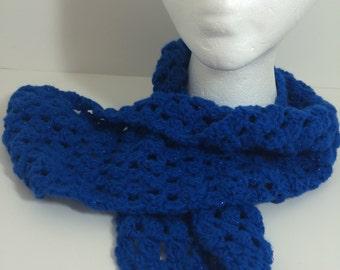 Crocheted Scarf - Sparkly Royal Blue - Garage Sale