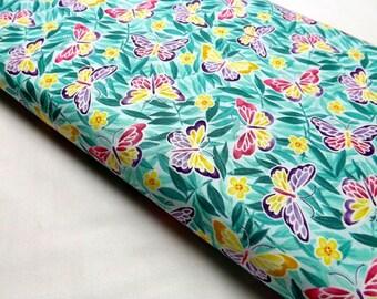 Green, Fat Quarter, Northcott, Summertime, Ming Garden, Butterfly, Butterflies on Fabric, Blossoms, Leaves, Quilting Cottons, Sewing Fabrics