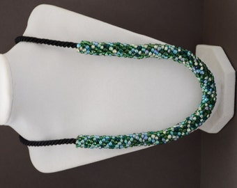 green and blue seed bead crochet rope bold necklace