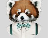 Red panda art print - Modern kid art - Pet Portrait - Animals in Clothes - Animal Art - Modern Decor - Ryan Berkley Illustration 8x10