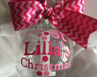 Baby's First Christmas Ornament Glass G Ball with Ribbon Bow Personalized Dated 2016 chevron