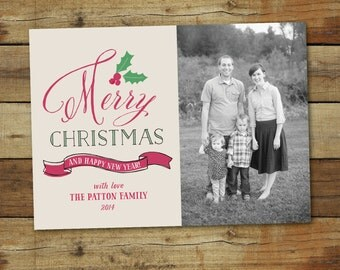 Hand lettered Christmas card, photo holiday card, calligraphy Christmas card, Christmas photo card