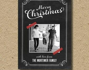 Chalkboard Christmas card, photo holiday card
