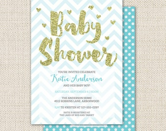 Gold glitter baby shower invitation, baby boy shower, blue chevron with gold heart confetti, custom baby shower invitation