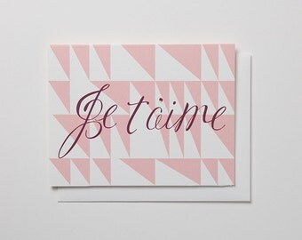 Je t'aime Note Card - I love you
