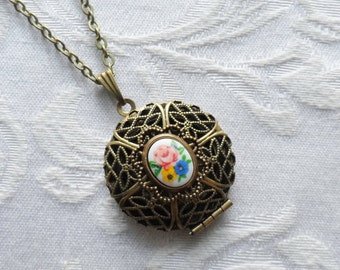 Wildflowers, Scent Locket Necklace with Vintage Glass Cameo