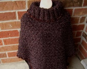 Crochet Earth Shades (Browns and Black) Soft Boucle Adult Poncho with Brown  Trim