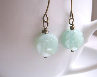 Sea Foam Roses pale amazonite earrings - calming mint blue flowers on brass - semi precious beads
