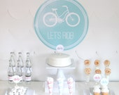 PRINTABLE bicycle party decor, labels and signs- complete bike printable party kit by kojodesigns (pink, red and aqua)