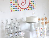 PRINTABLE modern building block party decor, labels and signs- essential party kit by kojodesigns