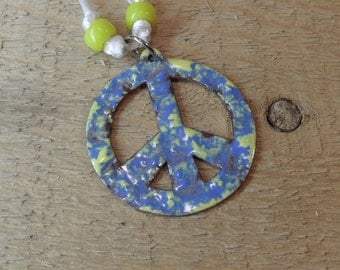 Copper Enameled necklace peace sign blue and yellow