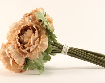 Rose Bouquet - Tea Stain Tan - Silk Flowers - Wedding Bridal - Tossing