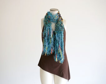 Long Teal Scarf, Ribbon Turquoise Scarf with Long Fringe and Yellow, Black, Red Women Fashion Scarf