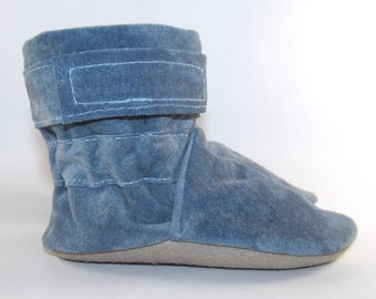 Soft Sole Blue Leather Baby Boots Shoes 6 to 12 Month