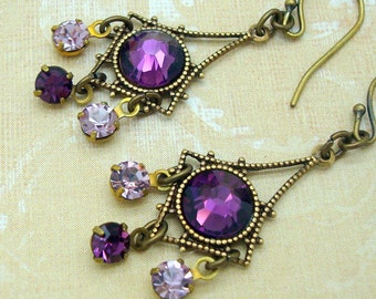 Purple Dangle Earrings in a Small Chandelier Style with Amethyst Rhinestones
