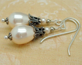 Neo Victorian Jewelry, Cream Swarovski Pearl and Silver Earrings, Sterling Silver or Plated Earwire, Art Nouveau Earrings