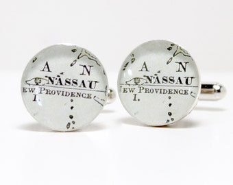 Nassau Bahamas Antique Map Cufflinks 1899, anniversary gifts for men, teen boy gift, groom gift from bride, graduation gift