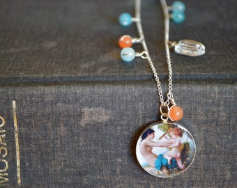 One of a kind collage pendant set in resin on sterling necklace. Miniature scene. Bouguereau fine art painting