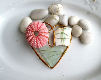 Pink and Green Beachy Suncatcher Ornament with Seaglass, Beach pottery, and Sea Urchin