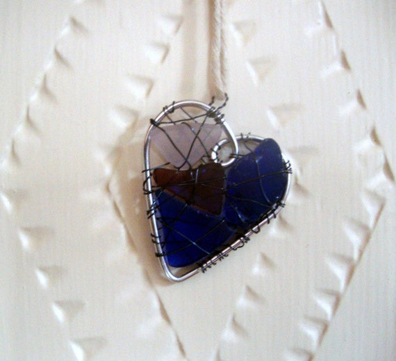 Primitive Seaglass Heart Suncatcher with Purple and Cobalt Blue Glass