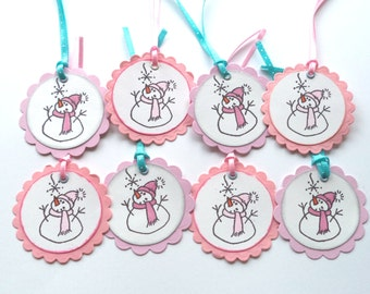 Scalloped Circle Christmas Gift Tags, Pink and Lilac Snowman Set of 8, Gift Giving Tags, Scrapbook Embellishment Tags