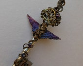 Purple Winged Clockwork Key -- Wire Wrapped Steampunk Key Pendant with Purple Feathered Wings, Gears and Crystals (A key to time)