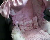My Sweet Shabby Chic Infant car seat cover  Padded Replacement Cover with Ruffles, Cotton Chenille, Satin and Bow
