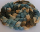 Fiber Roving Top BFL Silk TEAL for TWO Top Hand Painted Wool Spin Felt Craft Roving 4 ounces